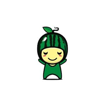 Personagem de fruta fofa engraçada melancia ilustração em vetor estilo simples personagem kawaii