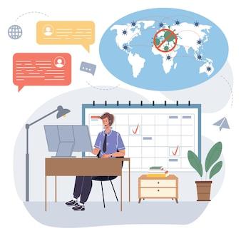 Personagem de funcionário de desenho animado em vetor ocupado com trabalho remoto on-line usando o aplicativo de mensagens