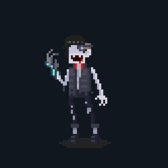 Personagem de futuro vampiro de desenho animado de pixel art