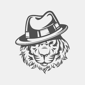 Personagem de gangster retrô com chapéu