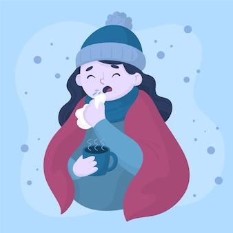 Personagem de garota tendo um resfriado