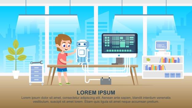 Personagem de garoto de escola criando um robô na sala de aula