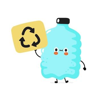 Personagem de garrafa de plástico de sorriso feliz e fofo segurando a placa de reciclagem Vetor Premium