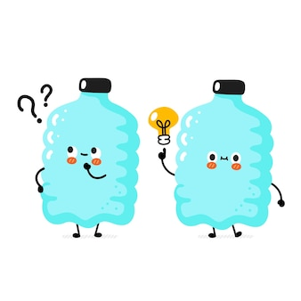 Personagem de garrafa de plástico de sorriso feliz engraçado fofo com ponto de interrogação e lâmpada de ideia