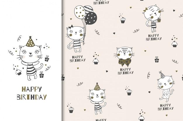 Personagem de gatinho bonito dos desenhos animados de aniversário. saudação dard e conjunto padrão sem emenda. design de papel de embrulho desenhado de mão