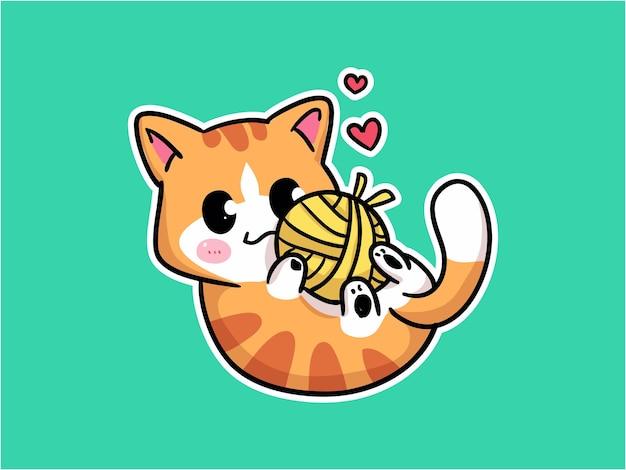 Personagem de gatinho kawaii brincando com ilustração de novelo de lã