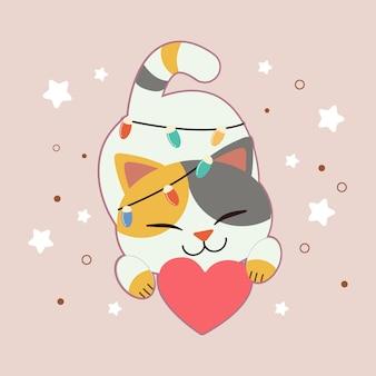 Personagem de gato bonito com coração e lâmpada e estrelas