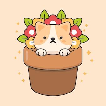 Personagem de gato bonito em um vaso de flores