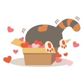 Personagem de gato bonito na caixa de papel com muito coração.