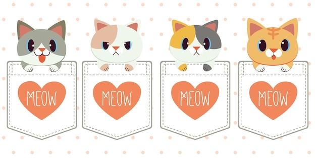 Personagem de gato bonito no bolso da camisa em estilo simples.