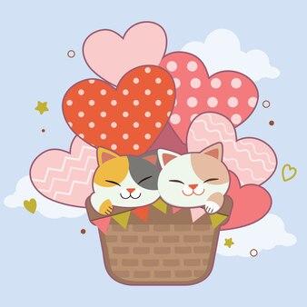 Personagem de gato bonito sentado no balão de ar quente no céu.