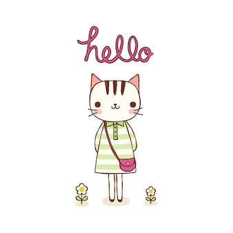 Personagem de gato bonito sorrindo em estilo simples