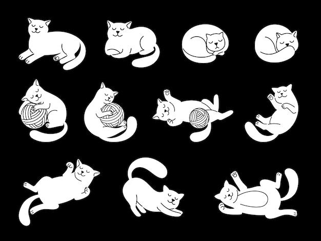 Personagem de gato branco doodle.