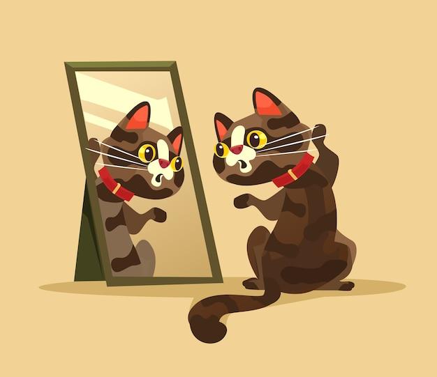Personagem de gato curioso e surpreso olhando para ilustração no espelho
