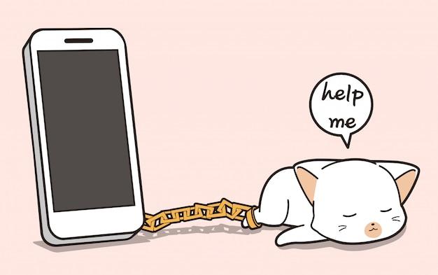 Personagem de gato de prisão de kawaii com um telefone inteligente