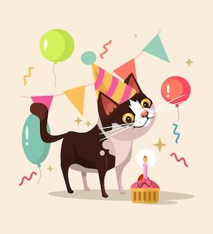 Personagem de gato feliz e sorridente comemora aniversário.