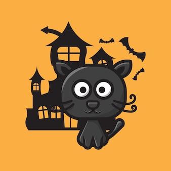 Personagem de gato fofo celebração do dia das bruxas