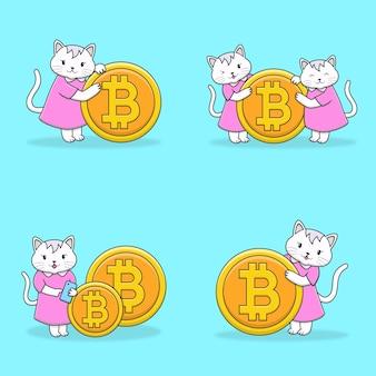 Personagem de gato fofo com coleção de moedas