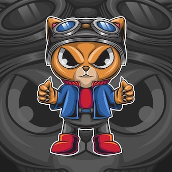 Personagem de gato fofo com ilustração de capacete