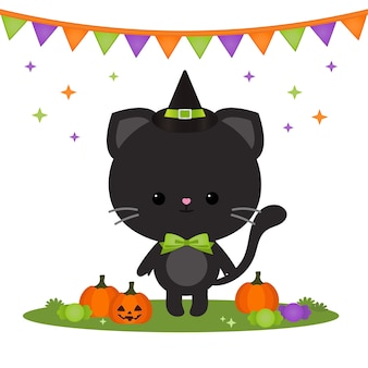 Personagem de gato fofo de halloween