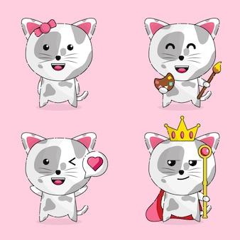 Personagem de gato fofo mascote kawaii