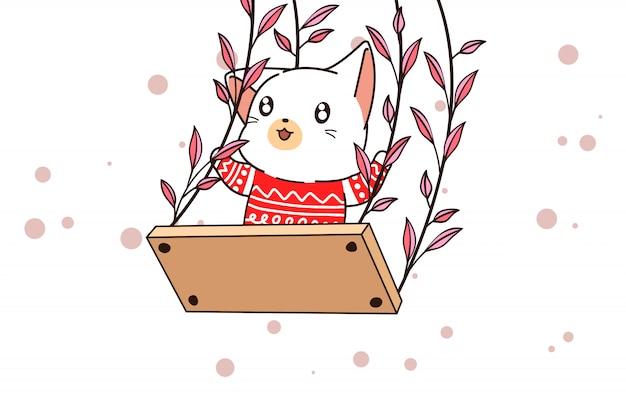 Personagem de gato kawaii mão desenhada no balanço