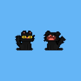 Personagem de gato preto sonolento de pixel art cartoon.