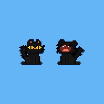 Personagem de gato preto sonolento de pixel art cartoon. Vetor Premium