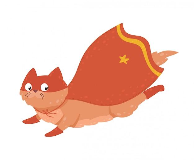 Personagem de gato super-herói em traje. animal bonito na máscara e capa.