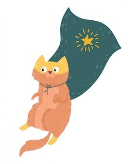 Personagem de gato super-herói em traje. animal fofo na máscara e capa.