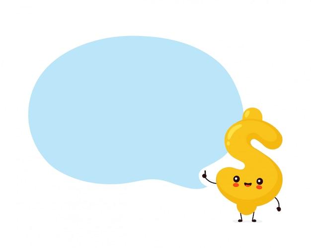 Personagem de giro cifrão feliz com bolha do discurso.
