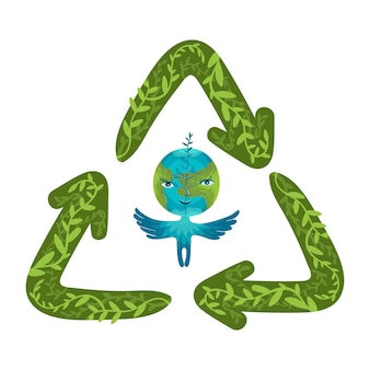 Personagem de globo da terra dos desenhos animados com símbolo de reciclagem de mão desenhada. conceito mundial de redução e reciclagem de resíduos