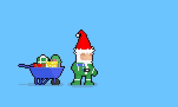 Personagem de gnomo de desenho animado pixel art com caixas de presente.