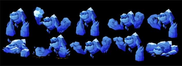 Personagem de golem de gelo em diferentes poses