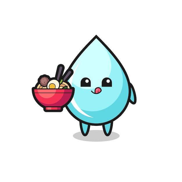 Personagem de gota de água fofa comendo macarrão, design de estilo fofo para camiseta, adesivo, elemento de logotipo