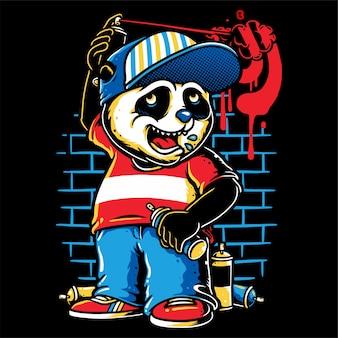 Personagem de graffiti panda bonito segurando uma tinta spray