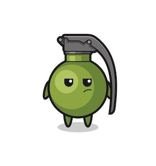 Personagem de granada fofa com expressão suspeita, design de estilo fofo para camiseta, adesivo, elemento de logotipo