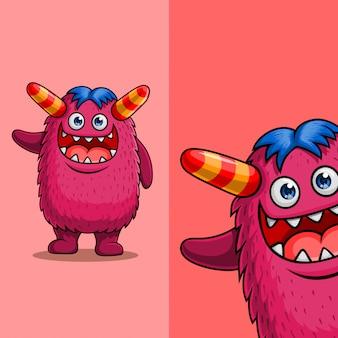 Personagem de grande monstro bonito dos desenhos animados acenando. com posição diferente do ângulo de exibição, desenhado à mão
