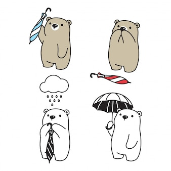 Personagem de guarda-chuva chovendo urso polar