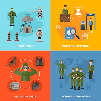 Personagem de guarda de fronteira e composição de elementos illustrationflat