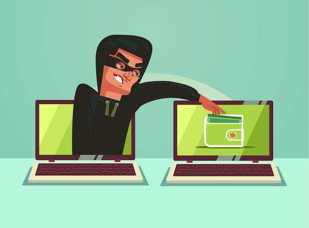 Personagem de hacker de computador roubando dinheiro online.