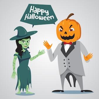 Personagem de halloween bruxa e jack o lanterna