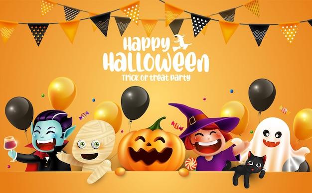 Personagem de halloween com letras e bandeiras guirlanda halloween background trick or treat concept