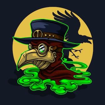 Personagem de halloween do médico stefmpunk da peste