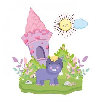 Personagem de hipopótamo bonito e pequeno