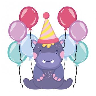 Personagem de hipopótamo fofo e pequeno com chapéu de festa