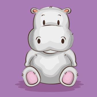 Personagem de hipopótamo fofo