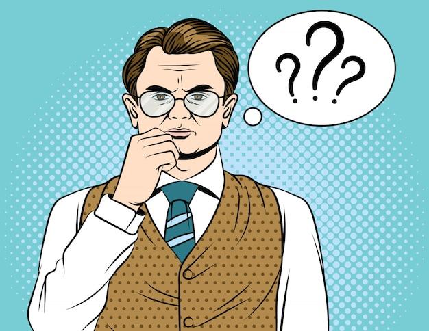 Personagem de homem adulto com balão de pensamento e pontos de interrogação.