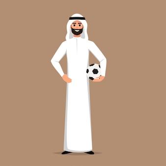 Personagem de homem árabe detém uma bola de futebol