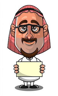 Personagem de homem árabe segurando um vetor de desenho animado banner